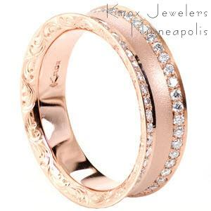 Rose gold wedding ring in Nashville with double row of diamonds, scroll hand engraving and sandblasted texture.