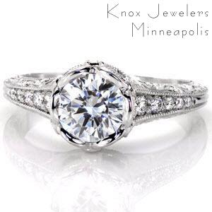 Knox Jewelers Petra design engagement ring featuring a round brilliant diamond.