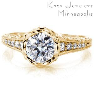 Antique engagement ring in yellow gold with custom bezel in Sacramento.