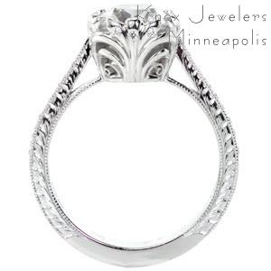 Vintage engagement ring with hand engraving and cushion cut center stone in Quebec.