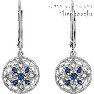 Edwardian Sapphire Dangles - Earrings