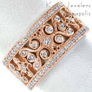 Cedar Rapids unique rose gold wedding band featuring an intricate filigree pattern set with micro pave diamonds.