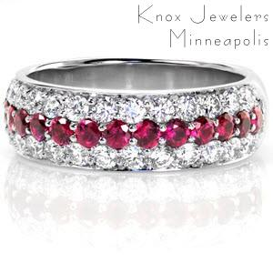 Denver unique ruby wedding bands with micro pave diamonds. Wide red sapphire wedding band with alternating rows of diamonds and rubies.