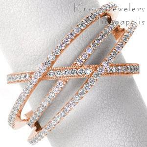 Rose gold wedding ring in Las Vegas with multiple overlapping diamond bands.