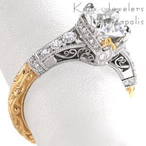 Stunning yellow gold antique engagement rings in Sacramento. This custom engagement two tone engagement ring features an exquisitely relief hand engraved band with micro pave and hand formed filigree in the crown.