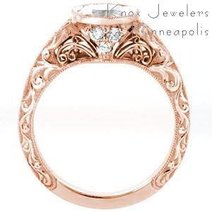 Filigree engagement ring in Charlotte with relief scroll engraving, milgrain and diamonds.