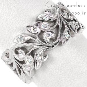 Chicago unique wedding bands featuring stunning floral filigree curls. The leaves and flowers are set with diamonds for added brilliance.