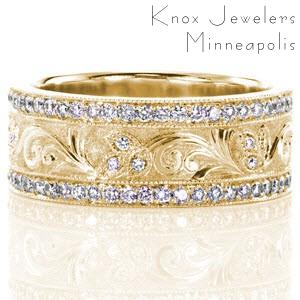 Wide diamond wedding rings in Atlanta with hand engraving and stippled background.