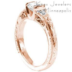Rose gold engagement ring in El Paso with hand engraving, filigree and cushion center stone.