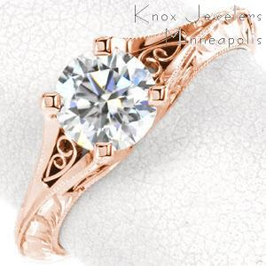 Rose gold engagement ring in Charlotte with a split band, filigree and hand engraving.