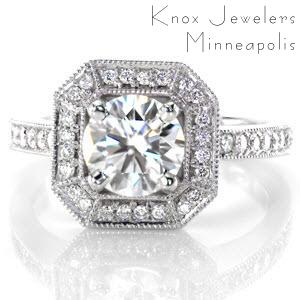 Edmonton halo engagement ring with round brilliant diamond center in an octagon halo.