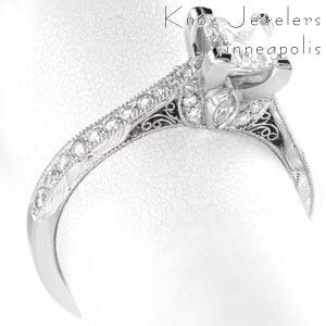 Filigree princess cut engagement ring with filigree, hand engraving and micro pave.