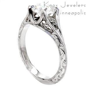 Unique Vintage Engagement Rings in Denver with hand formed filigree curls and relief style hand engraving.