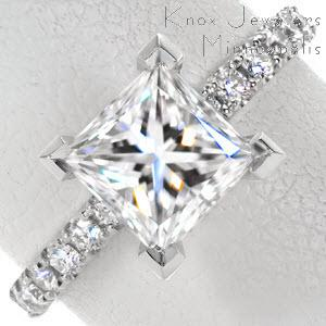 Jacksonville princess cut engagement ring with micro pave diamond band in a platinum setting.