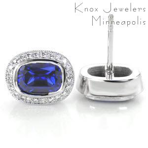 Cushion Sapphire Halo Earrings - Unique Gifts