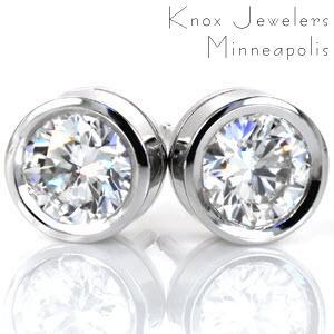 Bezel Diamond Studs - Earrings