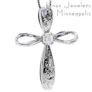 Engraved Diamond Cross - Pendants