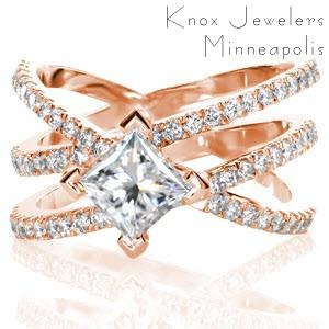 Rose gold engagement ring with micro pave diamond bands and kite-set princess cut in Fresno.