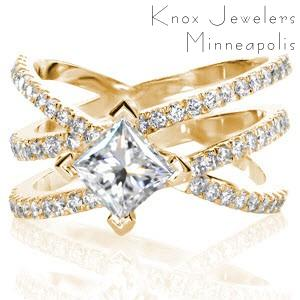 Wide band engagement ring in San Jose with kite-set princess cut center stone.