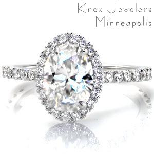 Oval diamond engagement ring, Design 2945 from Knox Jewelers. Hand cut pave adorns the halo and band of this custom engagement ring.