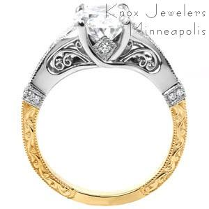 Custom made two tone filigree engagement ring in Dallas