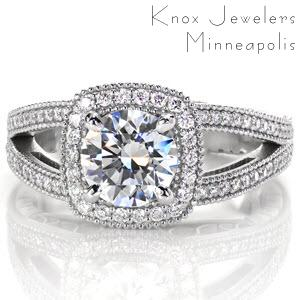 Memphis split band engagement ring with diamond halo and round brilliant center stone.