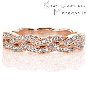 Unique custom rose gold wedding band with a bead set diamond braid design edged with milgrain in San Jose.
