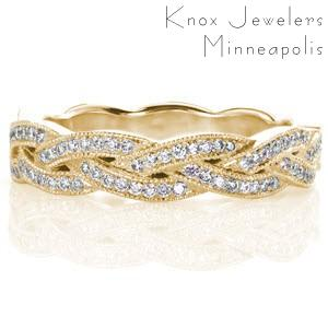 Knoxville unique yellow gold wedding bands with micropave diamonds.