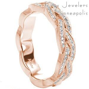 Unique custom rose gold wedding band with a bead set diamond braid design edged with milgrain in Tampa.