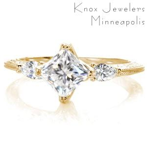 Unique three stone princess cut engagement ring in Oklahoma City is antique inspired. This stunning engagement ring is set with pear side diamonds and adorned with hand carved relief engraving.