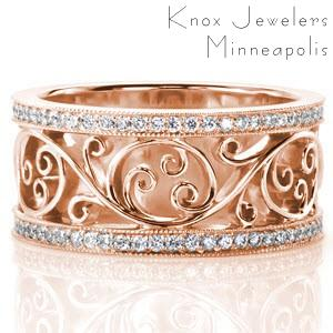 Elegant filigree wedding band with micro pave edges in Honolulu, Hawaii.