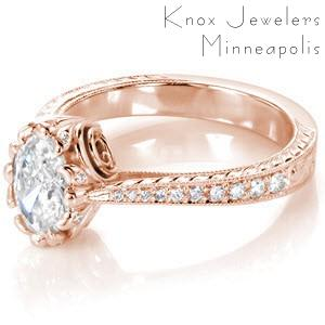 Louisville oval diamond engagement ring with antique inspired details including hand engraving, milgrain and filigree.
