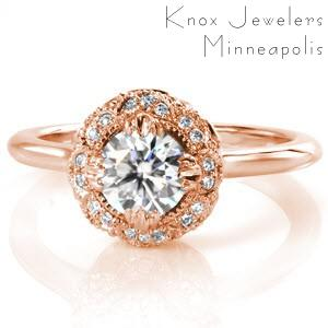 Rose gold engagement ring in Ottawa with diamond halo, high polished band and round brilliant center stone.