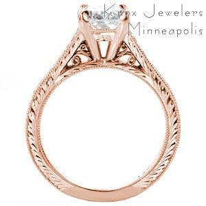 Rose gold engagement ring in Fresno with filigree, hand engraving and round center stone.