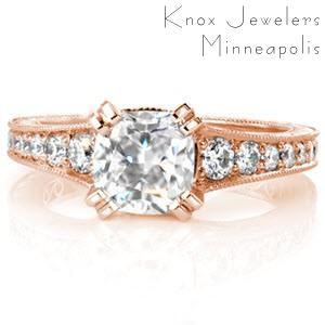 Rose gold cushion cut diamond engagement ring in Indianapolis.