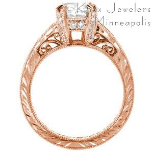 Rose gold cushion cut diamond engagement ring in Montreal.