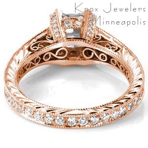 Rose gold cushion cut diamond engagement ring in San Jose.
