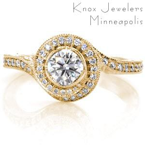 Custom engagement ring with a unique twisting diamond halo surrounding a round brilliant center stone in Riverside.