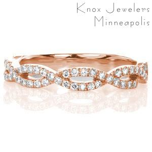 Memphis unique diamond wedding band with round brilliant diamonds along a woven pattern.