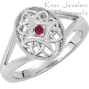 Crafted in Sterling Silver, the Edwardian Ruby ring has natural round cut ruby set in the center of a milgrain star. Reminiscent of a vintage era, the low profile setting makes it a comfortable fit. The split shank and delicate openwork accentuate an Edwardian form.