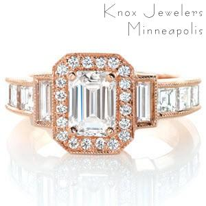 Design 3130 is an exquisite example of Art Deco style. The center 1.00 carat emerald cut diamond is framed with a micro pavé halo. Two banquettes flank each side of the halo and unique carre cuts are channel set within the 14k rose gold band. Hand applied milgrain finishes the vintage look.