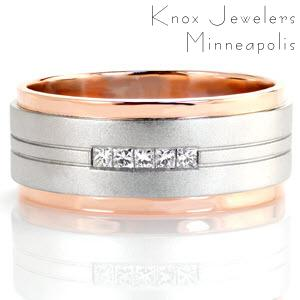 Design 3133 is a bold contemporary wedding band. The elevated white gold center features pin striping details that highlight five square diamonds captured in a channel setting. The cool, sand-blasted matte finish of the white gold contrasts perfectly with the warm hue and high polished luster of the rose gold sides.