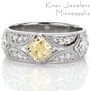 This dazzling ring features the crescent shaped arches and starburst patterns from our signature North Star design. The milgrain outlines are embellished with shimmering micro pavé diamonds. The kite-set radiant cut yellow diamond draws the eye to the center of this starry-night inspired design.