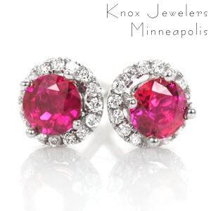 Ruby Halo Earrings - Earrings