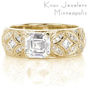 Unique Engagement Rings in Chicago featuring Art Deco inspirations. This ring, shown in yellow gold, features a dazzling mix of step-cut and round diamonds. The intricate star burst pattern formed by diamonds and milgrain is a show stopping combination!