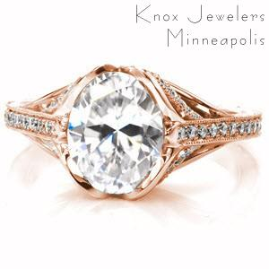 Raleigh custom created rose gold engagement ring with antique inspired details including center petal prongs holding an oval center and arching bead set diamonds.