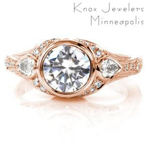Oklahoma City custom rose gold engagement ring with a unique side profile featuring bead set diamonds and filigree curls.