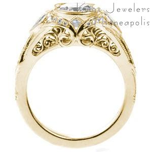San Berdardo custom engagement ring with a unique side profile featuring bead set diamonds and filigree curls.