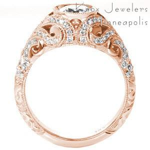 Vintage rose gold engagement rings in Salt Lake City. This gorgeous rose gold ring inspires thoughts of the Great Gatsby with its diamond set swirl filigree patterns.