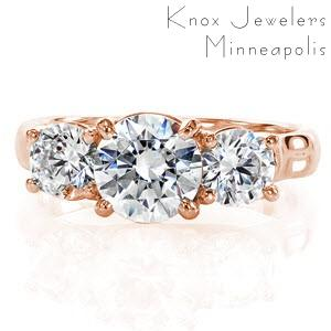 Washington DC contemporary custom rose gold three stone engagement ring with a high polished profile trellis design.